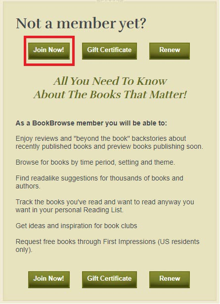 Sign up for book browse