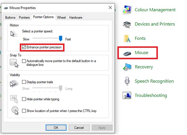 Enhance pointer precision in control pannel
