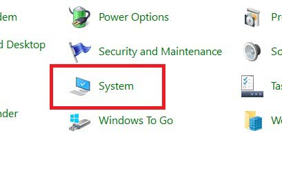 Go to system in Control pannel