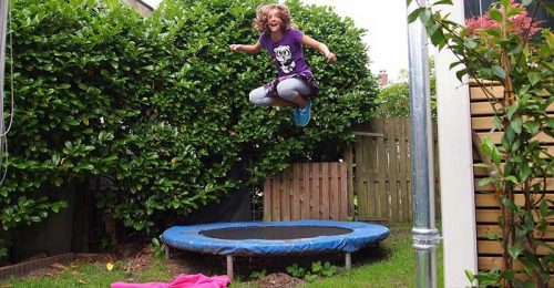 Trampoline - A Sheet Or Web Supported By Springs In a Metal Frame